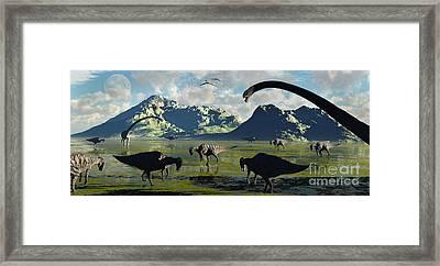 Parasaurolophus And Sauropod Dinosaurs Framed Print by Mark Stevenson