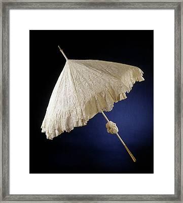 Parasol With Deck Of Needle Lace, Point De Gaze De Bruxelles Framed Print