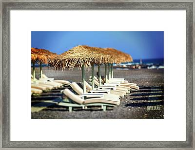 Parasols And Sunloungers Framed Print