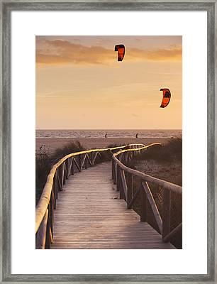Parasurfing Tarifa, Costa De La Luz Framed Print