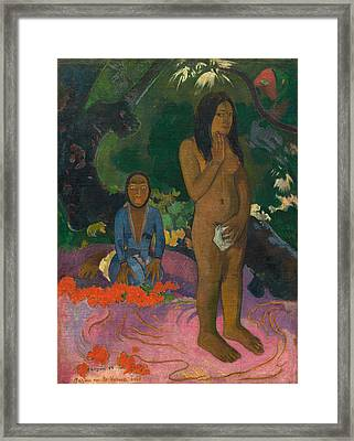 Parau Na Te Varua Ino Framed Print by Paul Gaugin