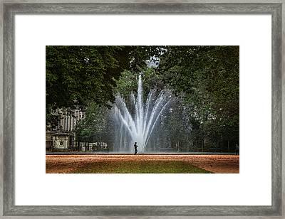 Parc De Bruxelles Fountain Framed Print