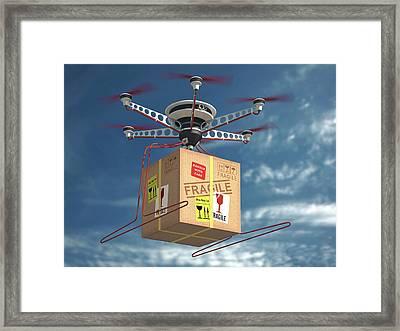 Parcel Delivered By Drone Framed Print by Ktsdesign