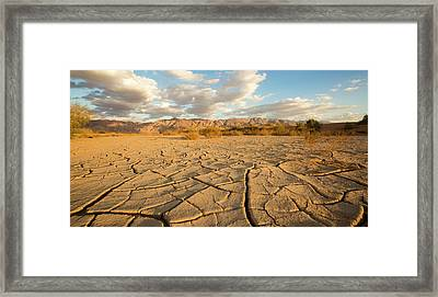 Parched Ground In A Desert Framed Print by Photostock-israel