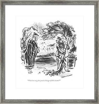 Pardon Me, Are You In Charge Of The Swans? Framed Print