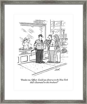 Pardon Me, Officer.  Could You Direct Framed Print by Tom Cheney