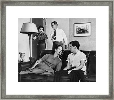 Parents And Teen Couple Framed Print by Underwood Archives