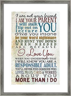 Parents Promise Framed Print