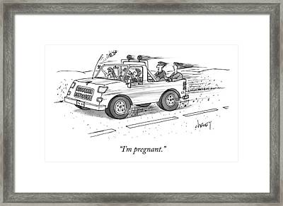 Parents Sitting In The Trunk Of A Pickup Truck Framed Print
