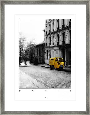 Paris - Yellow Car Framed Print by ARTSHOT - Photographic Art