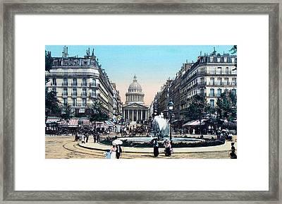 Paris 1910 Rue Soufflot And Pantheon Framed Print by Ira Shander