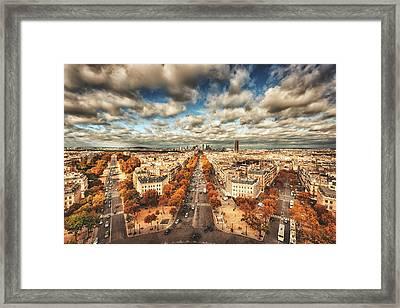 Paris Aerial View Of La Defense Framed Print by Franckreporter