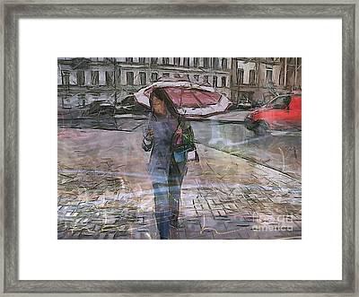 Paris And Rain Framed Print