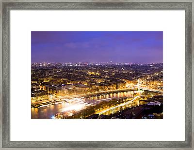 Paris And The River Seine Skyline View At Night Framed Print by Mark E Tisdale