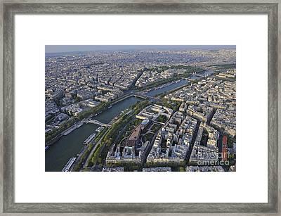 Paris And The Seine River Framed Print by Sami Sarkis