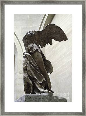 Paris Angel Louvre Museum- Winged Victory Of Samothrace Framed Print by Kathy Fornal