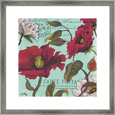 Paris Aqua Flowers I Framed Print