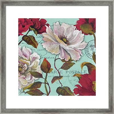 Paris Aqua Flowers II Framed Print