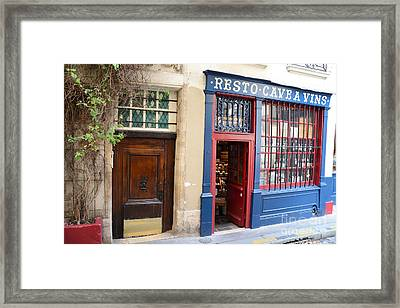 Paris Architecture Brown Door And Wine Shop - Paris Resto Cave A Vins Street Shoppe  Framed Print by Kathy Fornal