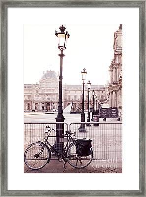 Paris Bicycle Louvre Museum - Paris Bicycle And Street Lantern - Paris Romantic Bicycle Fine Art Framed Print