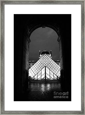 Paris Black And White Louvre Museum Art - Louvre Black And White Pyramid Night Lights And Arch Framed Print