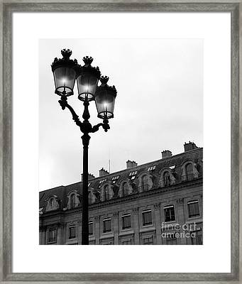 Paris Black And White Photograph - Place Vendome Lanterns Architecture Street Lamps Framed Print by Kathy Fornal