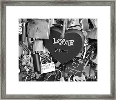 Paris Black And White Photography - Love Locks Padlocks - Locks Of Love  Framed Print by Kathy Fornal