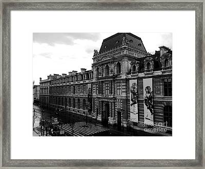 Paris Black And White Vintage Louvre Photography - Paris Louvre Museum Architecture  Framed Print by Kathy Fornal