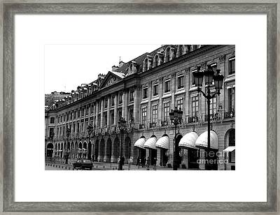 Paris Black And White Photography - Place Vendome Hotel Chaumet Architecture Street Lanterns Framed Print by Kathy Fornal