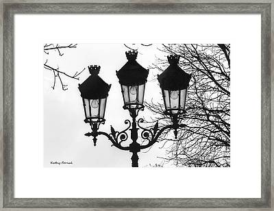 Paris Street Lanterns Lamps - Surreal Black And White Paris Street Lamps Architecture Art Framed Print by Kathy Fornal