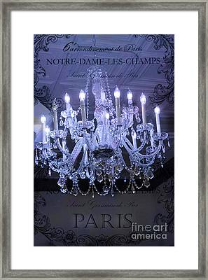 Paris Blue Crystal Chandelier Sparkling Chandelier Art - Paris Blue Shimmering Chandelier Art Deco  Framed Print by Kathy Fornal