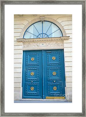 Paris Blue Door - Blue Aqua Romantic Doors Of Paris  - Parisian Doors And Architecture  Framed Print by Kathy Fornal