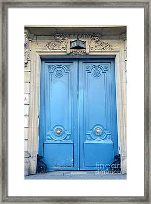 Paris Blue Doors No. 15  - Paris Romantic Blue Doors - Paris Dreamy Blue Doors - Parisian Blue Doors Framed Print by Kathy Fornal