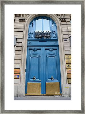Paris Blue Doors - Paris Romantic Blue Doors - Paris Dreamy Blue Door Art - Parisian Blue Doors Art  Framed Print by Kathy Fornal