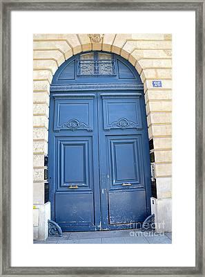 Paris Blue Doors No. 26 - Paris Romantic Blue Doors - Paris Dreamy Blue Doors - Parisian Blue Doors Framed Print by Kathy Fornal