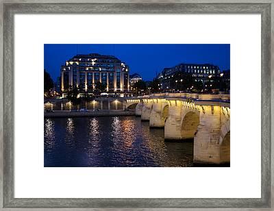 Paris Blue Hour - Pont Neuf Bridge And La Samaritaine Framed Print by Georgia Mizuleva