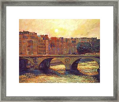 Paris Bridge Over The Seine Framed Print by David Lloyd Glover
