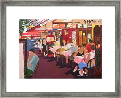 Paris Cafe At Dusk Framed Print