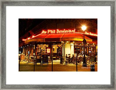 Paris Cafe At Night Framed Print by Colin Woods