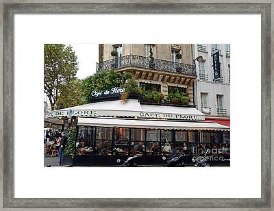 Paris Cafe De Flore - Paris Fine Art Cafe De Flore - Paris Famous Cafes And Street Cafe Scenes Framed Print by Kathy Fornal