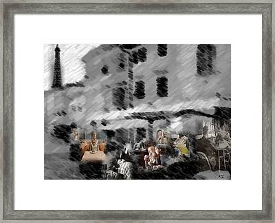 Framed Print featuring the digital art Paris Cafe by Kelly McManus