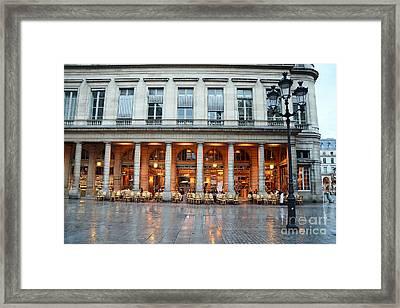 Paris Cafe Le Nemours - Famous Paris Cafe At Place Collette - Cafe Le Nemours Photography Framed Print by Kathy Fornal