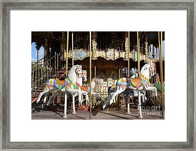 Paris Carousel Horses - Champs Des Mars - Paris Carousel Merry Go Round  Framed Print