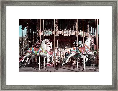 Paris Carousel Horses Merry Go Round - Paris Eiffel Tower Carousel Horses Merry Go Round Framed Print