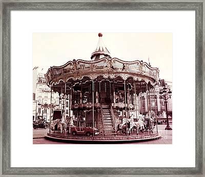 Paris Carousel Merry Go Round Hotel De Ville - Paris Carousel Horses Carnival Ride - Paris Carousels Framed Print