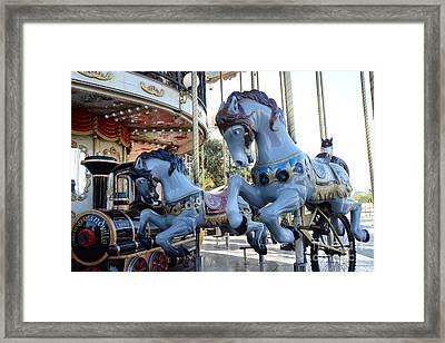 Paris Carousel Merry-go-round Horses - Paris Blue Carousel Horses - Baby Boy Blue Nursery Carousel Framed Print
