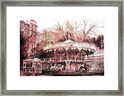 Paris Carousel Merry Go Round Montmartre District - Sacre Coeur Carousel Framed Print