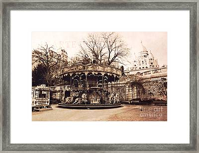 Paris Carousel Merry Go Round Montmartre District - Sepia Carousel At Sacre Coeur  Framed Print