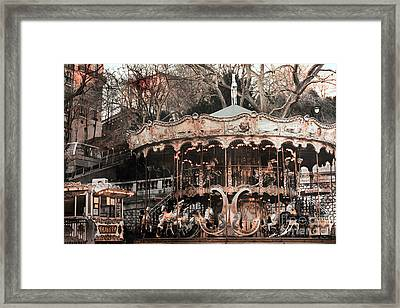 Paris Carousel Merry Go Round Sepia -  Paris Carousel Montmartre District Sacre Coeur Framed Print