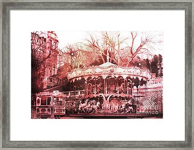 Paris Carousel Montmartre District Red Carousel Framed Print by Kathy Fornal